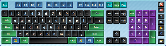 Virtual keyboard with colored keys