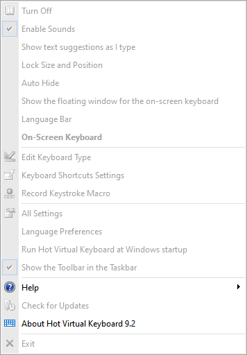 Locked settings of the on-screen keyboard